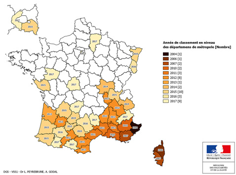 cartographie d'implantation du moustique tigre en France