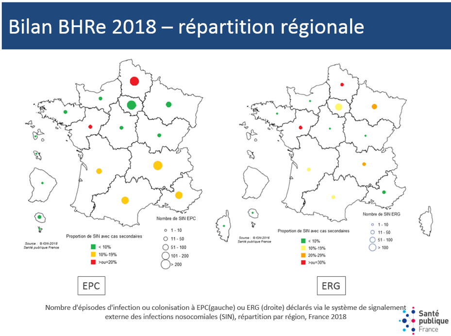 Cartographie - Nombre d'épisodes d'infection ou colonisation à EPC ou ERG  déclarés via le système de signalement externe des infections nosocomiales et proportion d'épisodes rapportant plus de 1 cas, répartition par région, France, 2018