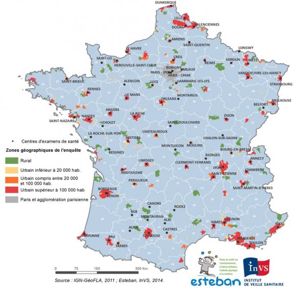 Carte des centres d'examens de santé
