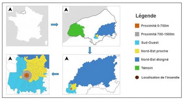 Carte de la zone d'étude : localisation de la zone exposée et de la zone témoin