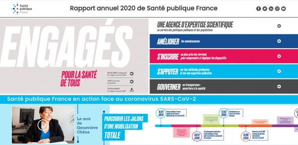Visuel de la page d'accueil du flipbook du rapport annuel 2020 de Santé publique France