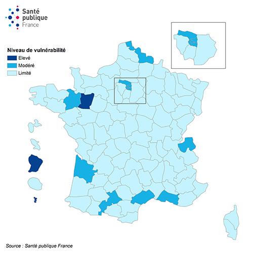 Niveau de vulnérabilité par département et évolution, France, au 7 août 2020