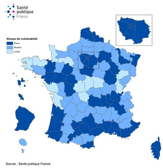 Niveau de vulnérabilité par département et évolution, France, au 18 septembre 2020