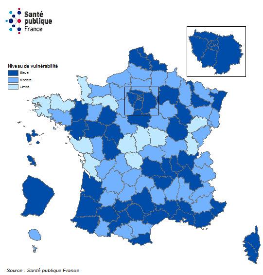 Niveau de vulnérabilité par département et évolution, France, au 21 septembre 2020