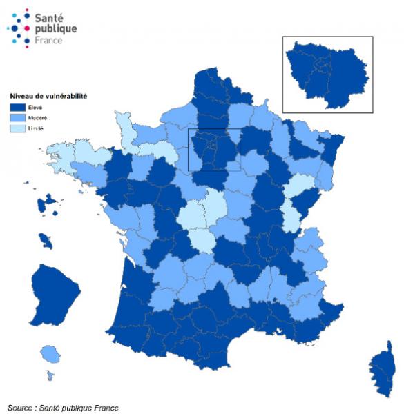 Niveau de vulnérabilité par département et évolution, France, au 27 septembre 2020