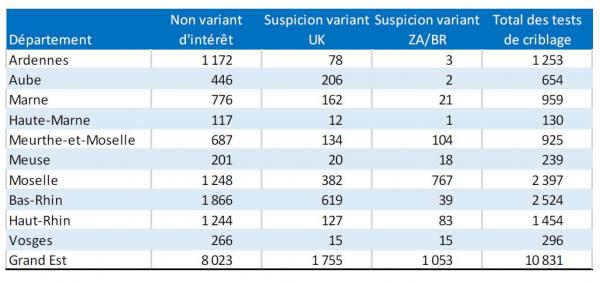 Tableau : Nombres par département de tests de criblage réalisés et nombre de suspicions de variants UK et ZA/BR. Grand Est (source : SIDEP, données extraites en date du 12/02/21)