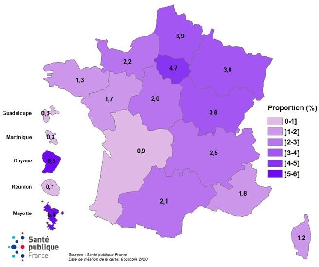 Proportion de professionnels déclarés infectés par le SARS-CoV-2 dans les ES (données au 05/10/20, N=35 246), France